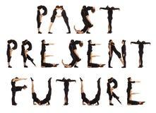 黑色形成过去当前未来的加工好的人民 库存照片
