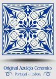 色彩强烈瓦器瓦片,蓝色和白色azulejo 向量例证