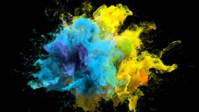 色彩生成呈虹彩多彩多姿的彩虹粉末爆炸可变的墨水微粒 库存例证