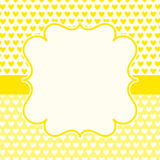 黄色心脏情人节卡片 免版税库存图片