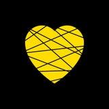 黄色心脏象 难看的东西纹理在黑背景隔绝的形状标志 导航例证,标志的浪漫,爱,激情 免版税库存照片