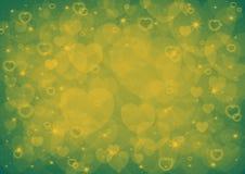 黄色心脏bokeh 图库摄影