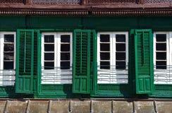 绿色快门在Durbar广场,加德满都,尼泊尔 免版税库存图片