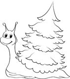 绿色愉快的蜗牛 免版税库存图片