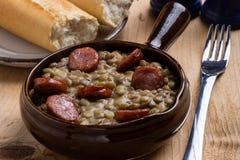 绿色扁豆炖煮的食物 免版税库存照片