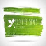 绿色手拉的横幅- eco背景 免版税图库摄影
