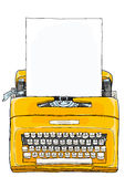 黄色打字机便携式的手工打字机 免版税图库摄影