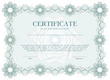 绿色扭索状装饰证明或文凭模板背景,现代设计 也corel凹道例证向量 免版税库存照片