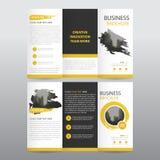 黄色抽象企业三部合成的传单小册子飞行物报告模板传染媒介最小的平的设计集合,摘要三折叠 皇族释放例证