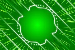 绿色抽象背景、光芒和微粒 库存照片