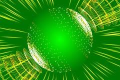 绿色抽象背景、光芒和微粒 免版税库存图片
