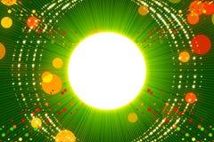 绿色抽象背景、光芒和金微粒 免版税库存图片