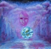 紫色抽象绘画 云彩 神秘的街道 发光的球 表面 免版税库存图片