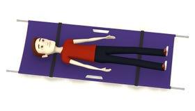 紫色担架的动画片男孩 免版税图库摄影
