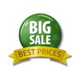绿色按钮和丝带与词`大销售最佳的价格` 库存图片
