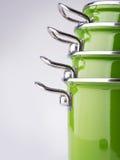 绿色搪瓷罐 免版税库存照片