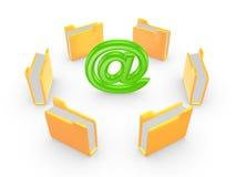黄色文件夹在标志。 库存照片