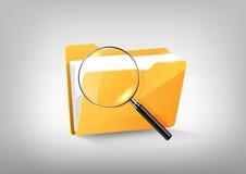 黄色文件文件夹目录象和被扩大化的玻璃在白色灰色,透明传染媒介 库存例证