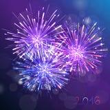 紫色新年烟花背景 免版税库存图片
