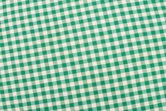 绿色方格的织品 免版税库存照片