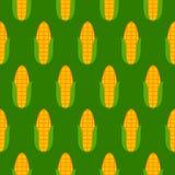 绿色无缝的样式用玉米 免版税图库摄影