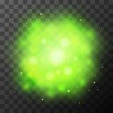 绿色明亮的光,不可思议的作用 向量例证