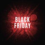 黑色星期五 巨大销售额 发短信在大红色闪光的背景与光亮防尘罩的项目的 向量 免版税库存图片