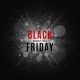 黑色星期五 巨大销售额 发短信在白色闪光的背景与光亮防尘罩的项目的 向量 图库摄影
