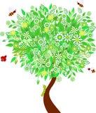 绿色春天树例证,昆虫例证 免版税库存照片