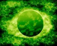 绿色月亮和行星-幻想空间 免版税库存照片