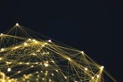 黄色未来派技术连接形状 库存照片