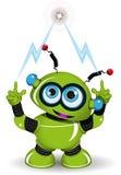绿色机器人和闪电 库存图片