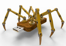 黄色机器人USB闪光蜘蛛 图库摄影