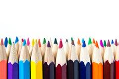 色板显示木蜡笔书写在白色背景 免版税图库摄影