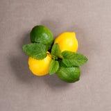 黄色柠檬、石灰和绿色薄荷叶在桌上 顶视图 免版税图库摄影