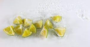 绿色柠檬, aurantifolia的柑橘,结果实落在水反对白色背景 股票录像
