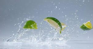 绿色柠檬, aurantifolia的柑橘,结果实落在水 股票视频