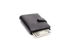 黑色查出的皮革钱包白色 库存图片