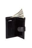 黑色查出的皮革钱包白色 免版税库存图片