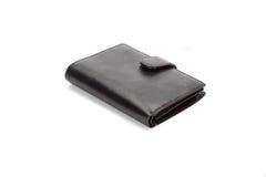 黑色查出的皮革钱包白色 库存照片