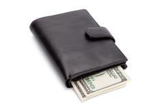黑色查出的皮革钱包白色 图库摄影
