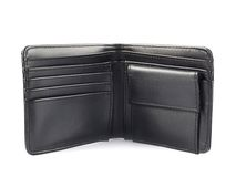 黑色查出的皮革钱包 图库摄影