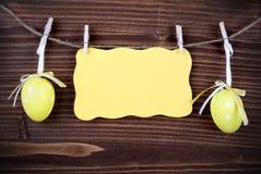 黄色标签用两个复活节彩蛋和拷贝空间和框架 库存照片