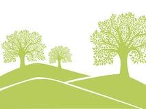 绿色树剪影 免版税库存照片