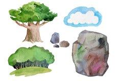 绿色树和石头 免版税库存图片