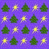 绿色树和黄色星背景在浅兰 免版税库存照片