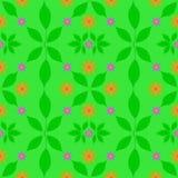 绿色样式开花橙色紫色叶子图表 免版税库存照片