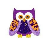 紫色样式猫头鹰 免版税库存照片