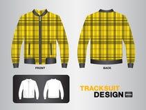 黄色格子花呢披肩田径服设计传染媒介例证 免版税图库摄影