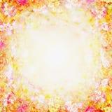 黄色桃红色模糊的花卉背景,花框架 库存图片